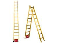 Escada de madeira abre estica